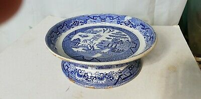 Antique Blue & White Willow Pattern Pedestal Bowl