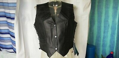 Woman Leather Texpeed waistcoat size 16 biker motorcycle vest casual laced