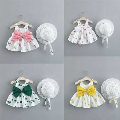 Toddler Baby Kids Girls Summer Sleeveless Princess Dresses Bow Hat Outfits Sets