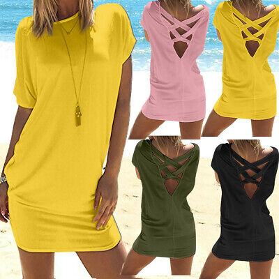 Women Casual Solid O-Neck Above Knee Dress Short Sleeve Party Beach Mini Dress