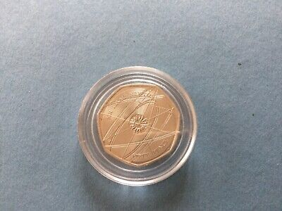 Rare 2017 Sir Issac Newton very good circulated condition 50p coin. In capsule