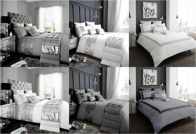 Luxury Duvet Cover Set Double KING Size Bedding Quilt Bed WHITE Silver GREY LUSH
