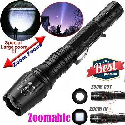 990000Lumens Super Bright T6 LED Flashlight 18650 Military Police Tactical Torch