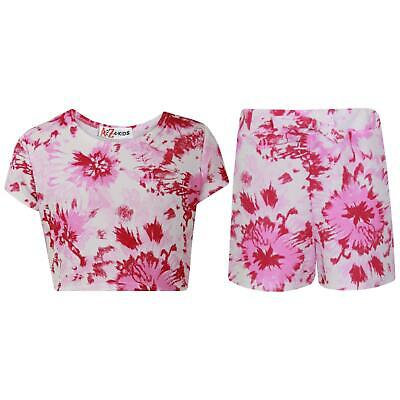 Kids Girls Crop Top & Shorts Floral Print Fashion Summer Outfit Short Sets 7-13Y