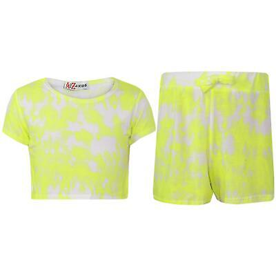 Kids Girls Crop Top & Shorts Tie Dye Neon Yellow Fashion Summer Outfit Short Set