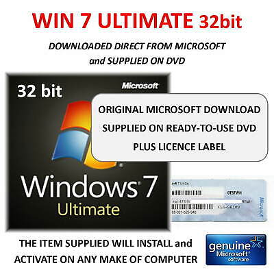 Win 7 ULTIMATE 32bit on DVD + Product Key from Genuine label