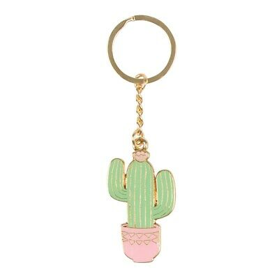 Sass & Belle Pastel Cactus Enamel Novelty Keyring Metal Bag Charm Collectable