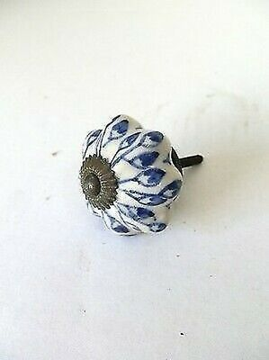 Knob Handle Brass & Ceramics Decorated for Drawers and Furniture Antique