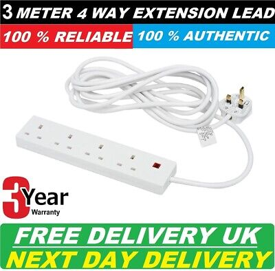 4 WAY 3M 13AMP EXTENSION LEAD WITH LONG WIRE PROTECTION UK STOCK 3 year warranty