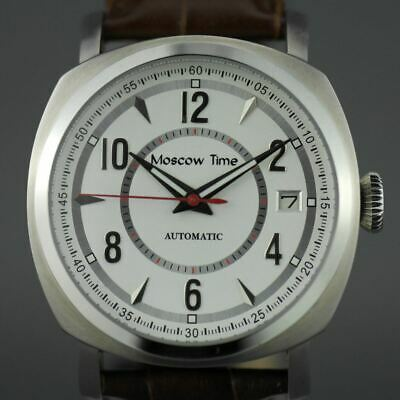 Moscow Time 27 jewels Gent's Automatic wristwatch with white dial leather strap