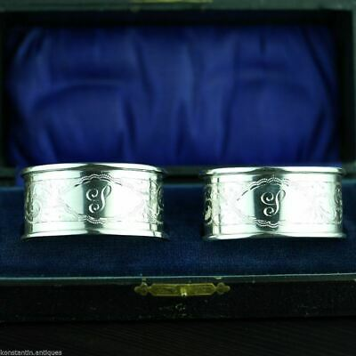 Antique 1912 sterling silver napkin rings set of two Chester boxed