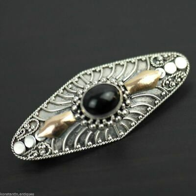Antique sterling silver black Onyx stone pin brooch with gold elements 925 gift