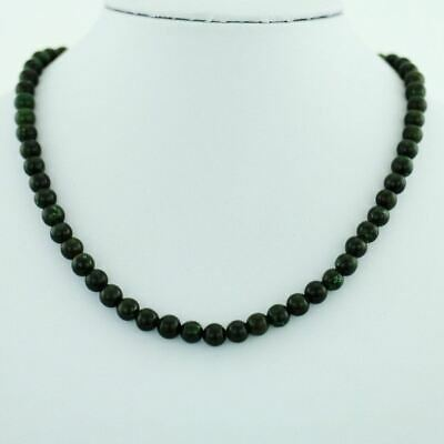 Antique Jade Nephrite beads necklace with Sterling clasp great Vintage gift