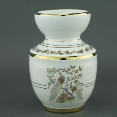 Vintage Greek 24ct Gold plated white pottery vase jug Peafowl in flowering bushe