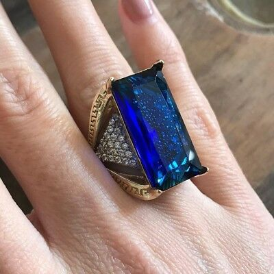 6925 Sterling Silver Handmade Authentic Turkish Sapphire Ladies Ring Size 6-10
