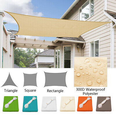 Waterproof Sun Shade Sail UV Patio Outdoor Top Canopy Rectangle/Triangle Cover