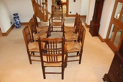 Set of 8 tall backed elm rush seated chairs