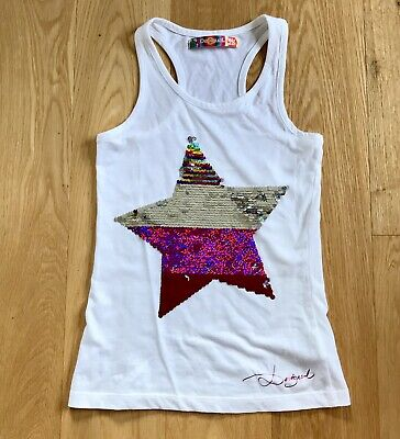 Desigual Girls Top Age 11/12 White Two Way Sequin Star Racer Back