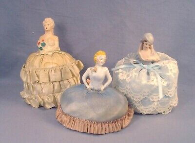 3 Vintage Porcelain and Bisque Lady Pincushions.
