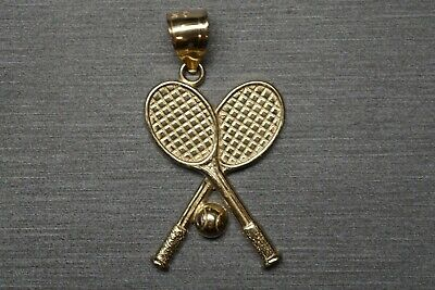 """10K Solid Yellow Gold 1.25"""" Tennis Racquets With Ball Sport Charm Pendant."""