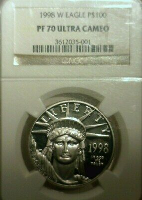 1998  W  Platinum Eagle Ngc Pf-70 Ultra Cameo  Great Looking Coin!!