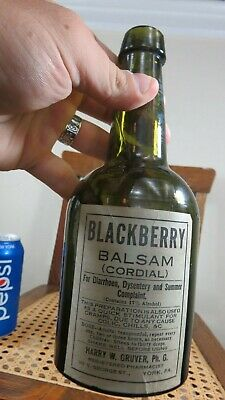 Extremely Rare Paper Label Dark Green Blackberry Balsam Harry W Gruver York Pa