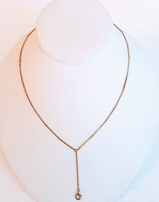Antique 10K Gold Chain With Drop For Pendant Or Locket, Rare Original Finding