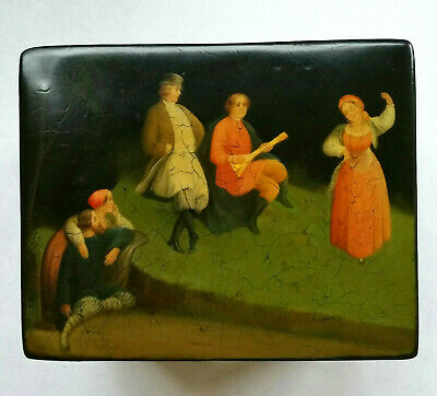 Fine Antique Russian hand painted lacquer rectangular tea caddy