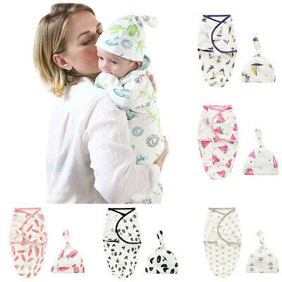Newborn Infant Baby Kids Swaddle Blanket Sleeping Muslin Wrap Headband Hat Sets
