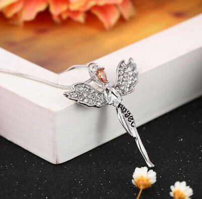 Women Crystal Fairy Angel Wing Pendant Long Chain Sweater Necklace Fashion Gift