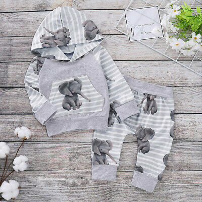 Toddler Baby Kids Girls Boys Hooded Tops Pants Autumn Outfits Sets Tracksuit
