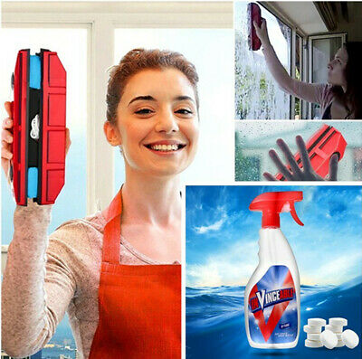 Magnetic Double Sides Window Glass Wiper+Multi Spray Cleaner Tablets WithBottle
