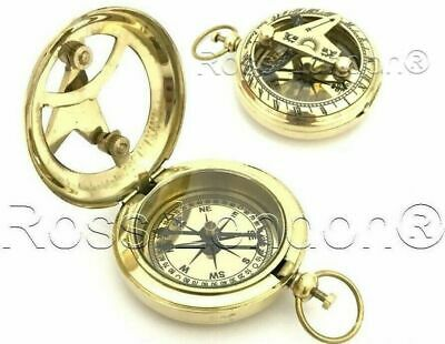 Collectible Solid Brass Push Button Compass & Sundial- High Quality & Heavy