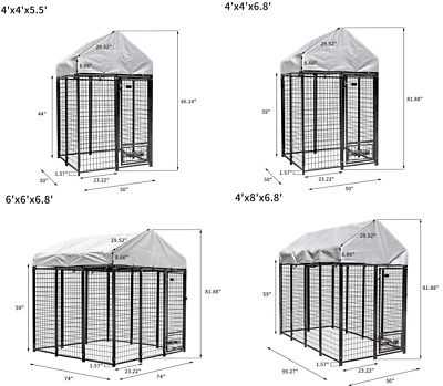 Extra large Outdoor Heavy Duty Dog Kennel Pet Dog Cage w/Cover Tall Run House