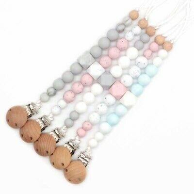 Pacifier Clips Silicone Beads Soother BPA Free Baby Shower Gifts Holder Chain