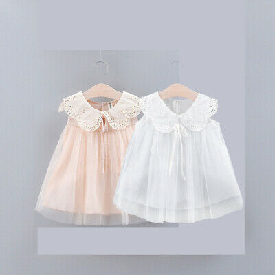 Toddler Kids Baby Girl Solid Sleeveless Bow Lace Tutu Tulle Party Princess Dress