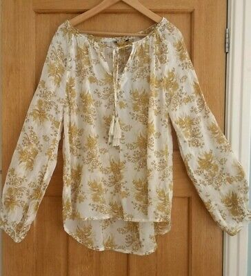 Next Long Sleeve Cream Ochre Floral light Vintage Festival Style Top NEW Size 10