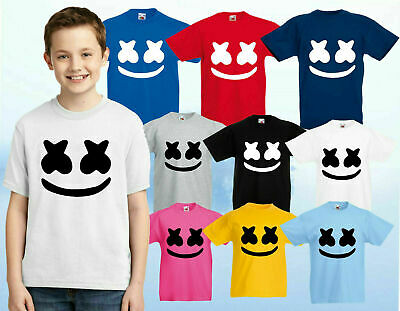 Dj Marshmello T-Shirt, Dj Music Kids Gaming Edm Dance Festival Mask Kids Tee Top