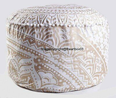 Gold Ombre Mandala Round Ottoman Pouf Cover Ethnic Indian Footstool Pouffe Cover