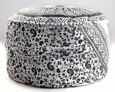 Indian Cotton Ombre Mandala Round Footstool Pouffe Cover Ethnic Ottoman Cover