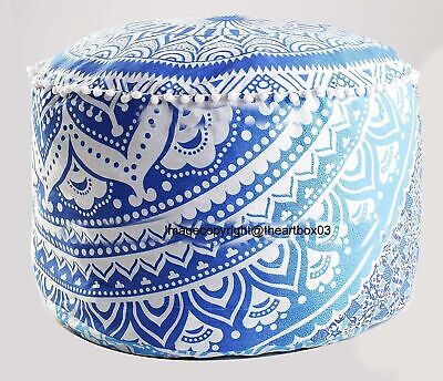 Ombre Mandala Round Ottoman Pouf Cover Ethnic Indian Footstool Pouffe Cover Art