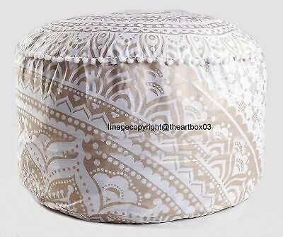 Cotton Ombre Mandala Round Footstool Pouffe Cover Ethnic Indian Ottoman Cover