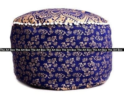 Ombre Mandala Round Ottoman Pouf Cover Ethnic Indian Footstool Pouf Cover Decor