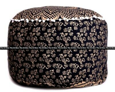 Indian Cotton Ombre Mandala Round Ottoman Pouf Cover Ethnic Footstool Pouf Cover