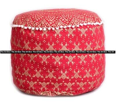 Indian Ombre Mandala Cotton Round Footstool Pouffe Cover Ethnic Ottoman Cover