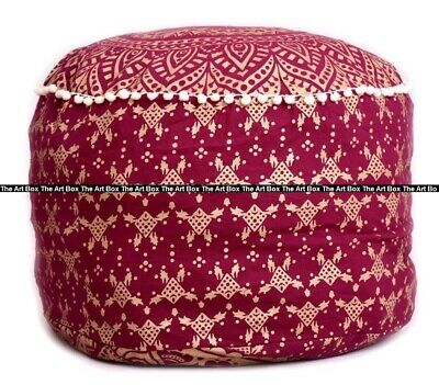 Ombre Mandala Round Ottoman Pouf Cover Ethnic Indian Cotton Footstool Pouf Cover