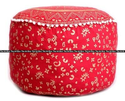 Indian Cotton Ombre Mandala Round Ottoman Pouf Cover Ethnic Footstool Pouffe Art