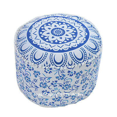Ombre Mandala Cotton Round Ottoman Pouf Cover Ethnic Indian Footstool Pouffe Art