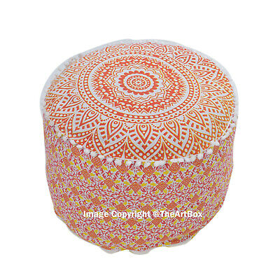 Cotton Ombre Mandala Round Ottoman Pouf Cover Ethnic Indian Footstool Pouffe Art