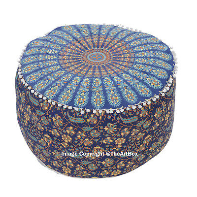 Cotton Ombre Mandala Round Ottoman Pouf Cover Ethnic Indian Footstool Pouf Cover
